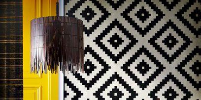 Interior design, Room, Textile, Table, Furniture, Interior design, Wall, Lamp, Pattern, Linens,