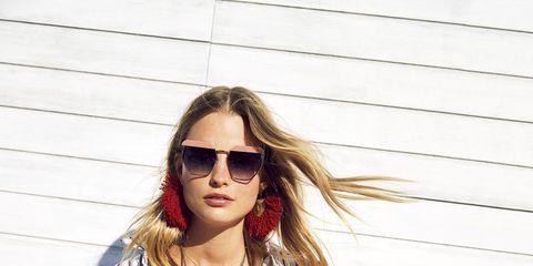 Eyewear, Sleeve, Human body, Shoulder, Sunglasses, Joint, Outerwear, White, Fashion accessory, Style,