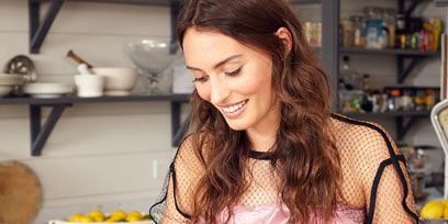 Shelf, Brown hair, Cooking, Kitchen, Plate, Countertop, Bread, Shelving, Kitchen utensil, Homemaker,