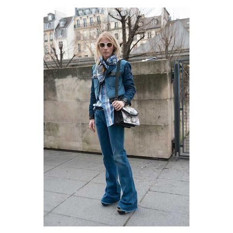 Clothing, Sleeve, Trousers, Denim, Sunglasses, Textile, Photograph, Bag, Outerwear, Jeans,