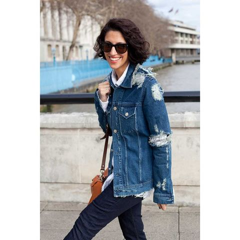 Clothing, Bag, Textile, Sunglasses, Outerwear, Denim, Fashion accessory, Style, Street fashion, Luggage and bags,