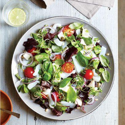 Food, Salad, Dishware, Ingredient, Vegetable, Produce, Leaf vegetable, Cuisine, Tableware, Plate,