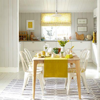 Room, Wood, Yellow, Floor, Interior design, Flooring, Table, White, Dining room, Furniture,