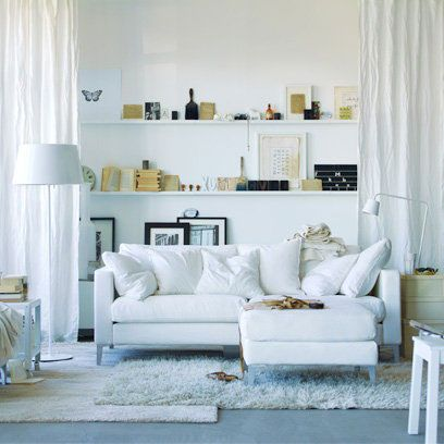 White Sofas And Shelving | Small Living Room Ideas | Decorating Ideas |  Interiors | Redonline.co.uk