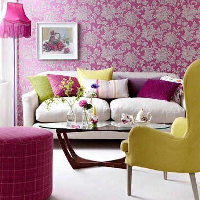Room, Interior design, Yellow, Green, Purple, Furniture, Living room, Pink, Wall, Magenta,