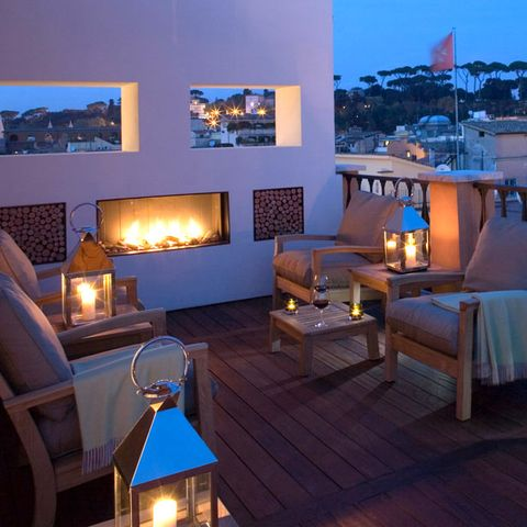 Fireplace, Blue, Room, Lighting, Property, Sky, Interior design, Home, Furniture, Living room,