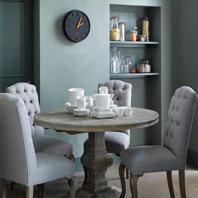 Serveware, Room, Dishware, Furniture, White, Table, Interior design, Porcelain, Wall clock, Shelving,