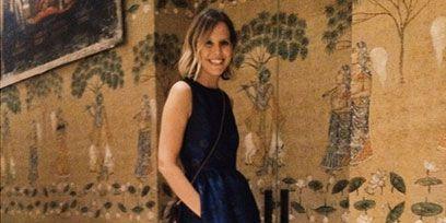 Clothing, Shoulder, Dress, Floor, Formal wear, One-piece garment, Flooring, Day dress, Electric blue, Cobalt blue,