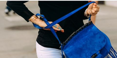 Blue, Joint, Musical instrument accessory, Musical instrument, Waist, Membranophone, Wrist, Bag, Electric blue, Street fashion,
