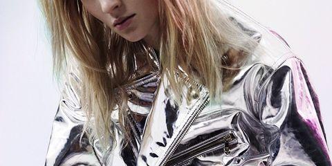 Sleeve, Collar, Jacket, Fashion, Street fashion, Blazer, Blond, Fashion model, Fashion design, Long hair,
