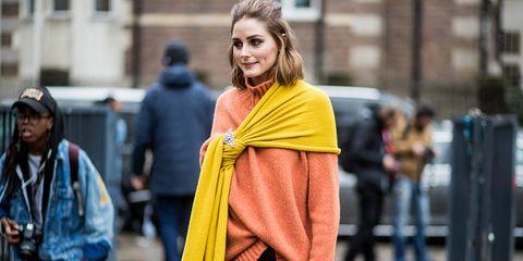 Street fashion, Clothing, Yellow, Fashion, Outerwear, Scarf, Coat, Headgear, Textile, Street,