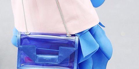 Blue, Bag, Electric blue, Cobalt blue, Fashion, Azure, Nail, Shoulder bag, Waist, Day dress,