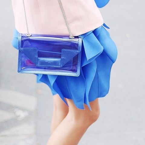 Blue, Bag, Electric blue, Cobalt blue, Fashion, Azure, Nail, Shoulder bag, Waist, Day dress,