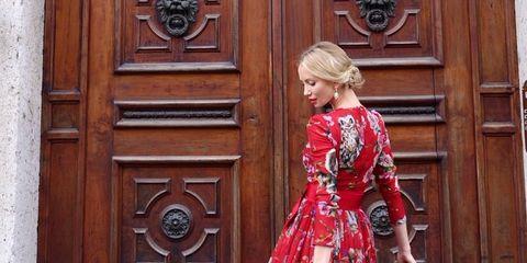 Dress, Red, Door, Pink, Magenta, Style, Street fashion, Home door, Fashion, One-piece garment,
