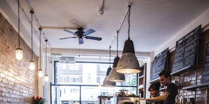Lighting, Interior design, Floor, Ceiling, Light fixture, Interior design, Iron, Ceiling fixture, Ceiling fan, Stool,