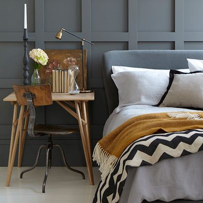 Wood, Room, Textile, Interior design, Furniture, Linens, Bedding, Home, Grey, Lamp,