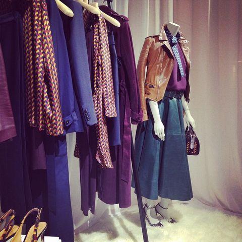 Textile, Retail, Purple, Fashion, Clothes hanger, Lavender, Collection, Fashion design, Mannequin, Boutique,