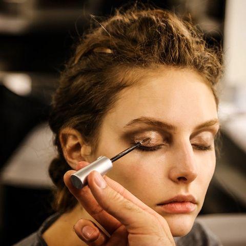 Lip, Hairstyle, Eyelash, Eyebrow, Nail, Beauty, Eye shadow, Personal grooming, Makeup artist, Brown hair,
