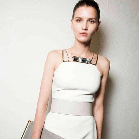 Clothing, Hairstyle, Dress, Shoulder, Joint, Style, Waist, Fashion model, Day dress, Beauty,