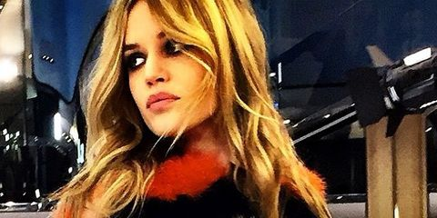 Lip, Hairstyle, Fashion model, Long hair, Blond, Eyelash, Fur, Model, Step cutting, Fur clothing,