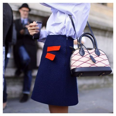 Blue, Bag, Outerwear, Style, Street fashion, Dress, Pattern, Luggage and bags, Electric blue, Shoulder bag,