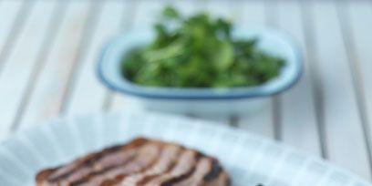 Food, Cuisine, Ingredient, Plate, Pork, Dishware, Breakfast, Dish, Leaf vegetable, Produce,