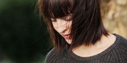 Hairstyle, Bangs, Black hair, Street fashion, Feathered hair, Bob cut, Hime cut, Step cutting, Long hair, Layered hair,