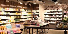 Retail, Convenience store, Floor, Supermarket, Shelf, Flooring, Grocery store, Trade, Shelving, Wood flooring,