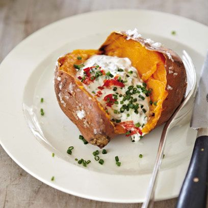 Sweet potato with soured cream, chives and chilli