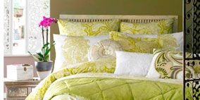 Green, Room, Yellow, Interior design, Property, Bedding, Home, Textile, Wall, Bed,