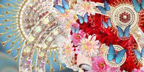 Headgear, Tradition, Art, Headpiece, Natural material, Circle, Decorative fan, Hair accessory, Lipstick, Embellishment,