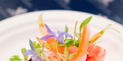 Food, Dishware, Ingredient, Orange, Cuisine, Plate, Garnish, Tableware, Fish slice, Dish,