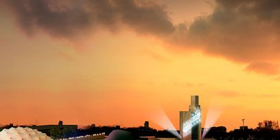 Reflection, Water feature, Evening, Tourist attraction, Dusk, Reflecting pool, Skyline, Cityscape, Sunset,