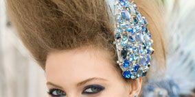 Ear, Blue, Hairstyle, Chin, Forehead, Eyebrow, Eyelash, Earrings, Style, Fashion accessory,