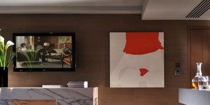 Room, Interior design, Wall, Floor, Interior design, Light fixture, Maroon, Design, Heat, Coquelicot,