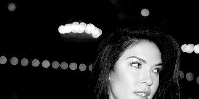 Lip, Hairstyle, Style, Black, Monochrome, Black hair, Flash photography, Monochrome photography, Portrait photography, Long hair,