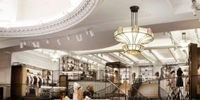 Lighting, Interior design, Ceiling, Light fixture, Iron, Ceiling fixture, Interior design, Hall, Handrail, Metal,