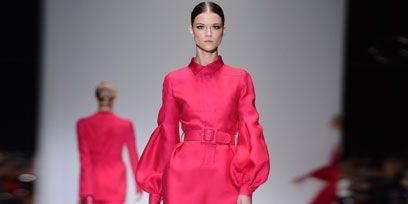 Clothing, Fashion show, Event, Shoulder, Runway, Red, Joint, Fashion model, Style, Dress,
