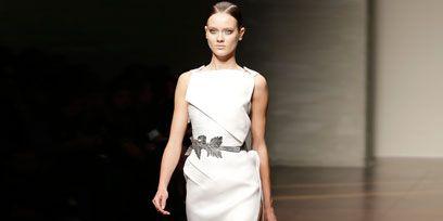 Clothing, Dress, Shoulder, Joint, Human leg, Floor, Fashion show, Style, Formal wear, Flooring,