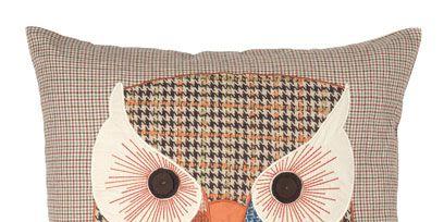 Brown, Pattern, Textile, Orange, Bird, Owl, Linens, Great horned owl, Cushion, Bird of prey,