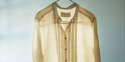 Product, Collar, Yellow, Sleeve, Textile, Dress shirt, White, Clothes hanger, Khaki, Fashion,