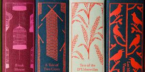 Red, Pattern, Peach, Design, Visual arts, Publication, Book, Paper product, Motif, Paper,