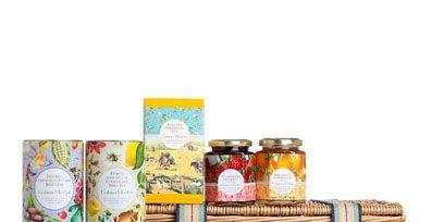 Basket, Present, Home accessories, Storage basket, Hamper, Picnic basket, Food storage containers, Wicker, Food storage, Label,