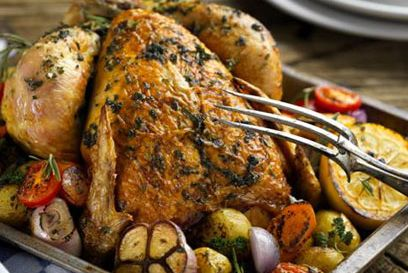 Roast chicken with garlic and herbs
