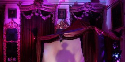 Textile, Purple, Interior design, Stage, heater, Violet, Magenta, Theatre, Majorelle blue, Curtain,