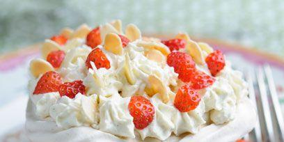 Food, Ingredient, Cuisine, Dessert, Dishware, Fruit, White, Whipped cream, Cutlery, Cream cheese,