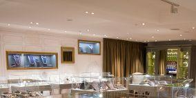 Interior design, Furniture, Table, Ceiling, Glass, Interior design, Display device, Transparent material, Television, Light fixture,