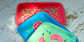 Pink, Aqua, Teal, Magenta, Turquoise, Plastic, Rectangle, Tray, Home accessories, Serving tray,