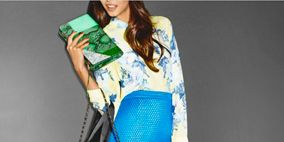 Clothing, Yellow, Sleeve, Shoulder, Textile, Joint, Formal wear, Bag, Style, Electric blue,