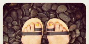 Shoe, Slipper, Foot, Pebble, Toe, Silver, Still life photography, Sandal, Dancing shoe, Ballet flat,